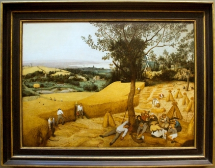 The_Harvesters,_painting_by_Brugel,_with_frame